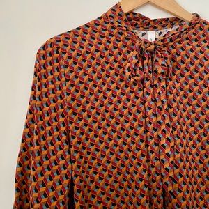 Boho Abstract Triangle Pattern Blouse  XL